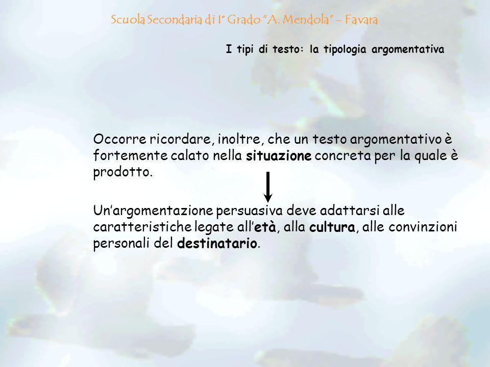 I tipi di testo: la tipologia argomentativa