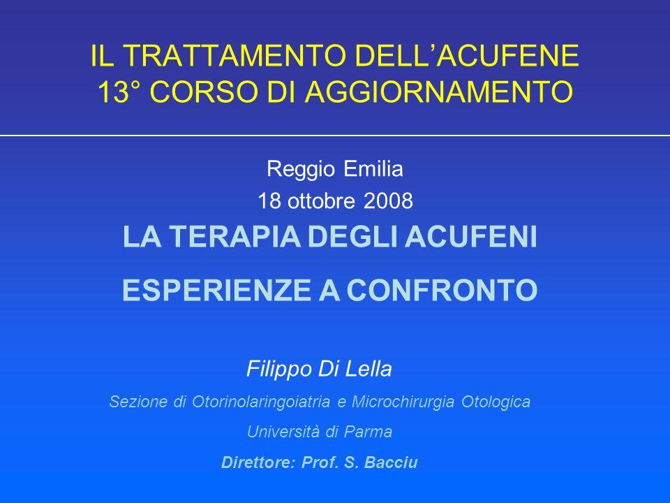 IL TRATTAMENTO DELL'ACUFENE 13° CORSO DI AGGIORNAMENTO