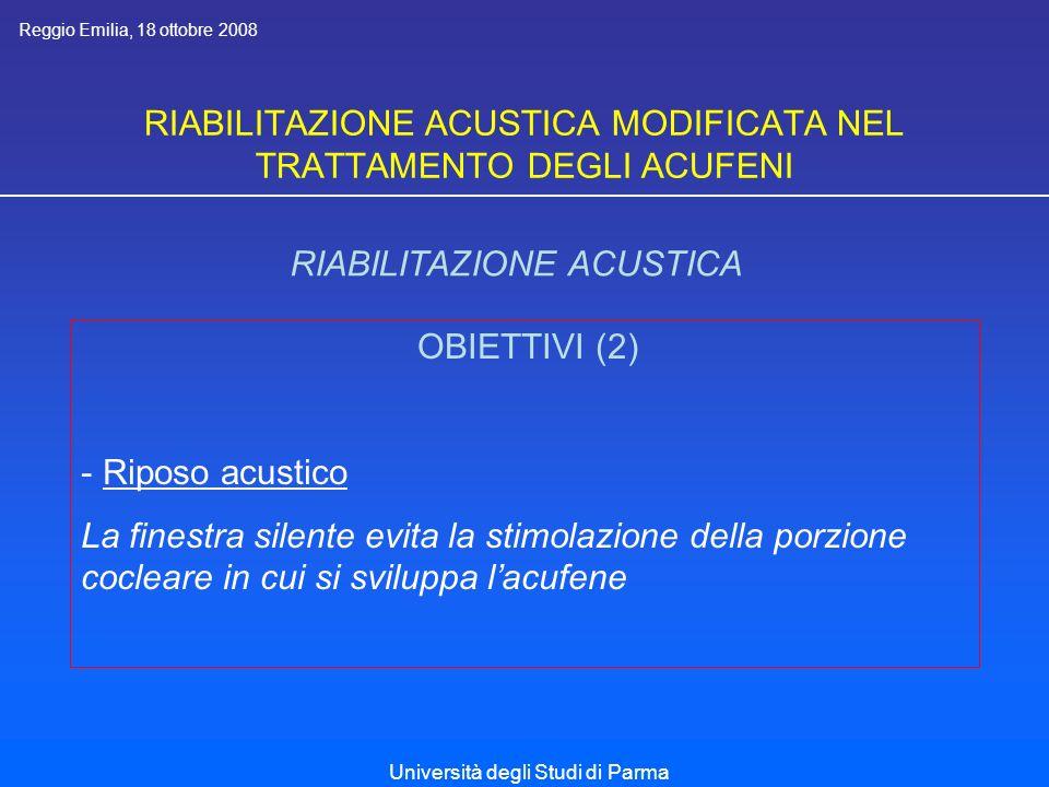 RIABILITAZIONE ACUSTICA MODIFICATA NEL TRATTAMENTO DEGLI ACUFENI