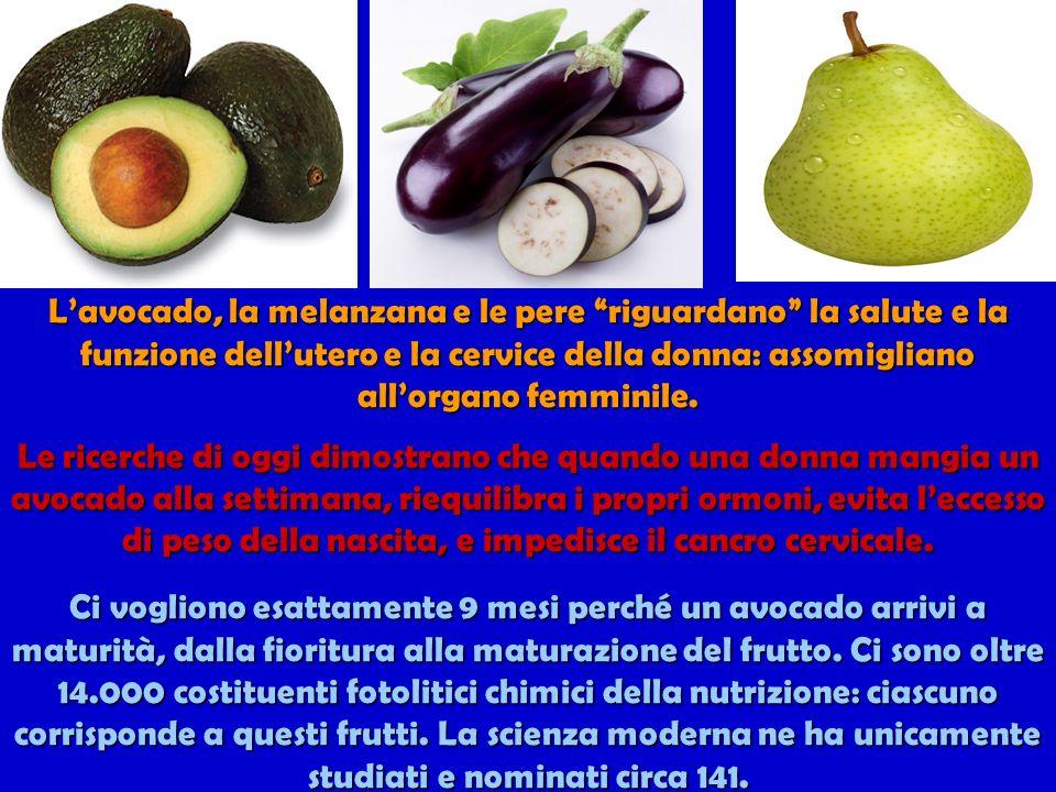 L'avocado, la melanzana e le pere riguardano la salute e la funzione dell'utero e la cervice della donna: assomigliano all'organo femminile.