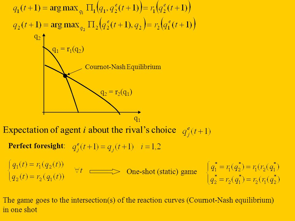 . Expectation of agent i about the rival's choice q2 q1 = r1(q2)