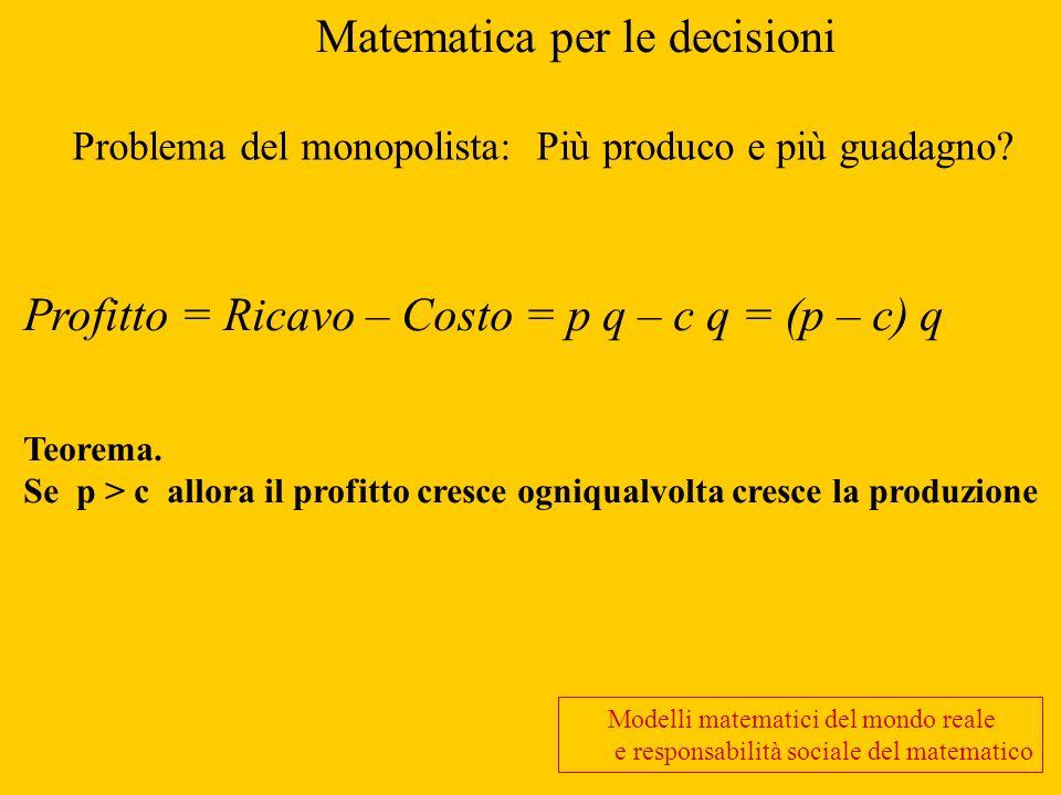 Matematica per le decisioni
