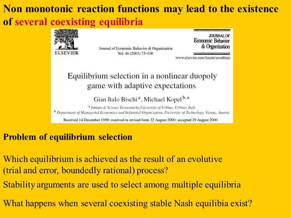 Non monotonic reaction functions may lead to the existence of several coexisting equilibria