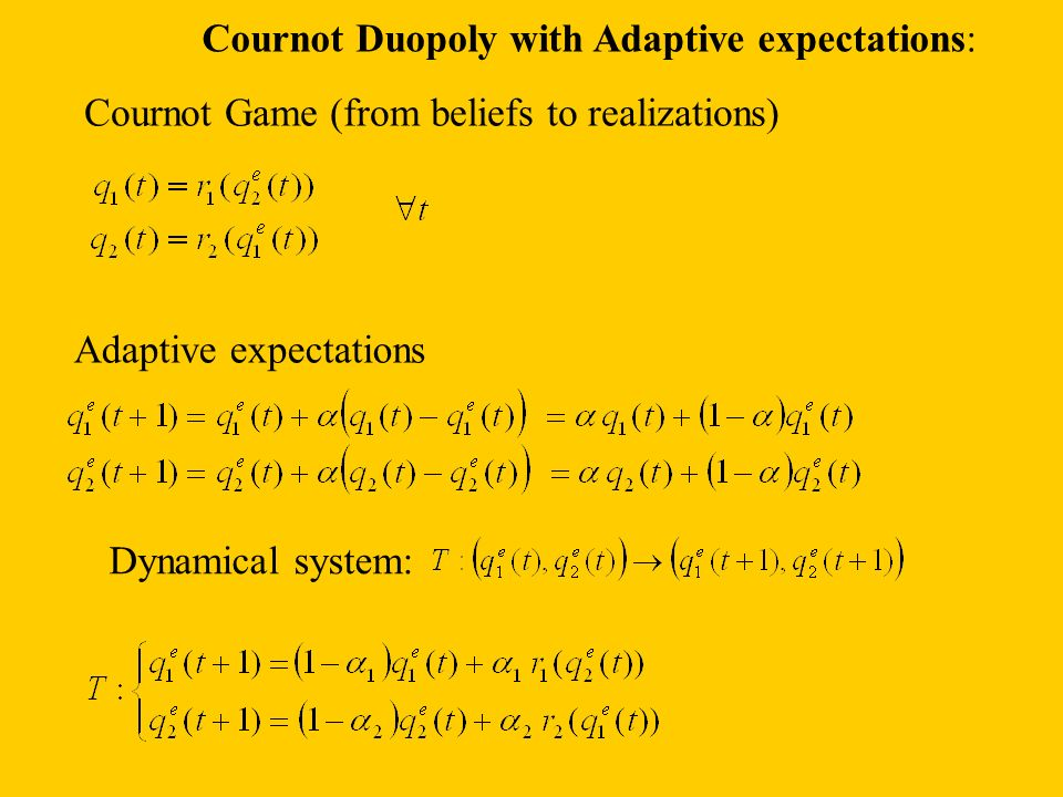 Cournot Duopoly with Adaptive expectations: