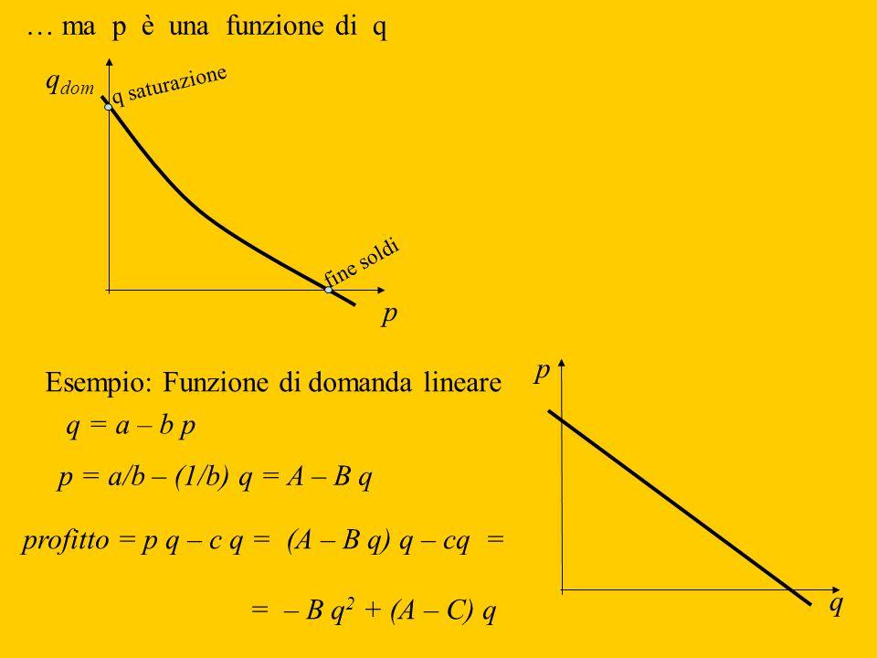 Esempio: Funzione di domanda lineare p