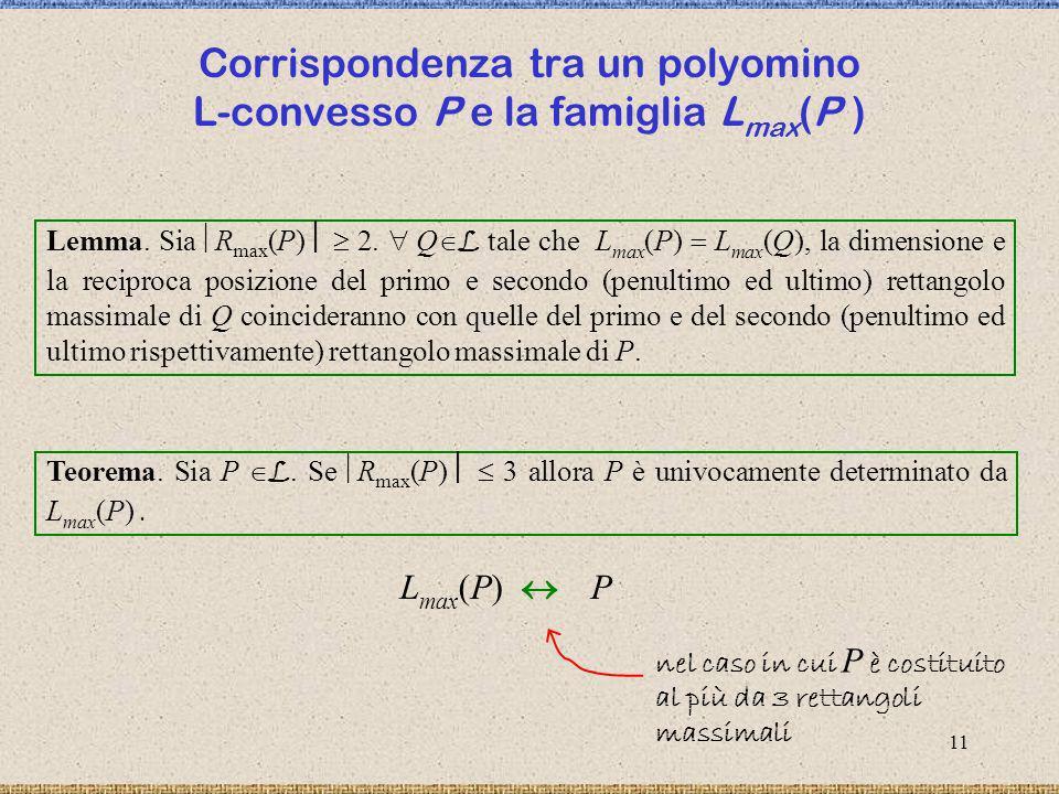 Corrispondenza tra un polyomino L-convesso P e la famiglia Lmax(P )