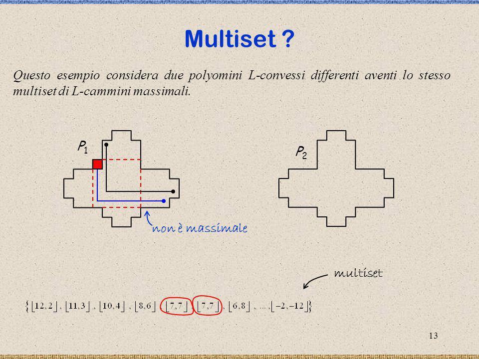 Multiset P1. P2. multiset. Questo esempio considera due polyomini L-convessi differenti aventi lo stesso multiset di L-cammini massimali.