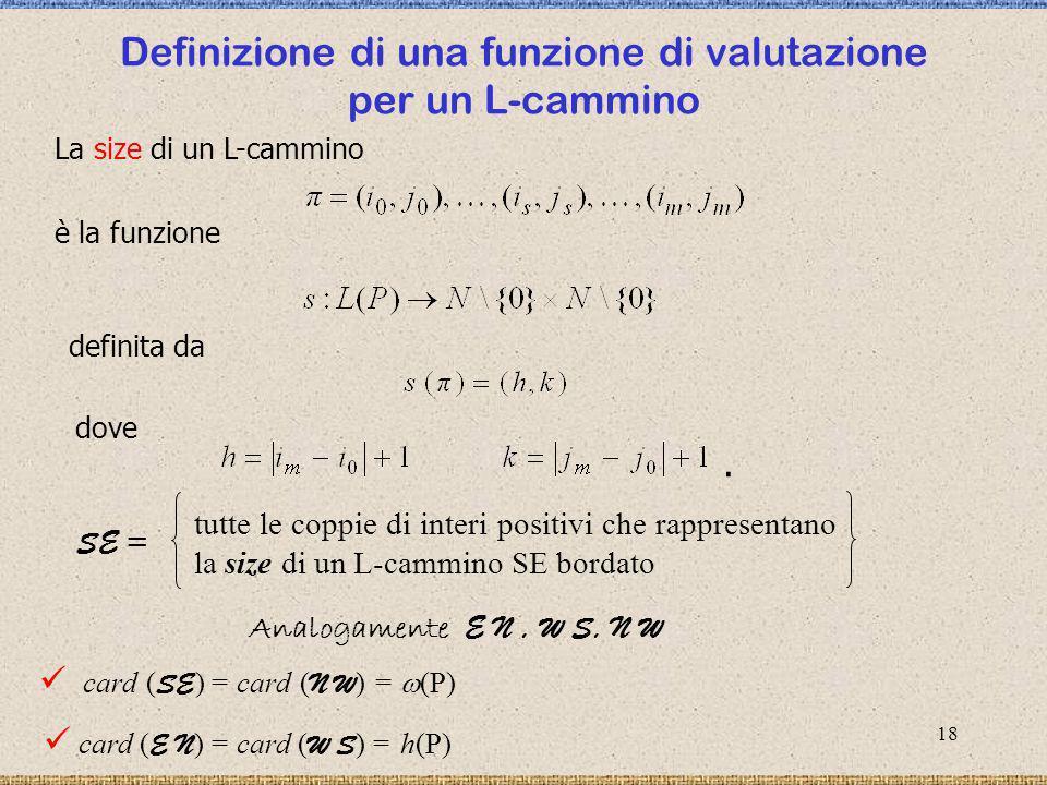 Definizione di una funzione di valutazione per un L-cammino
