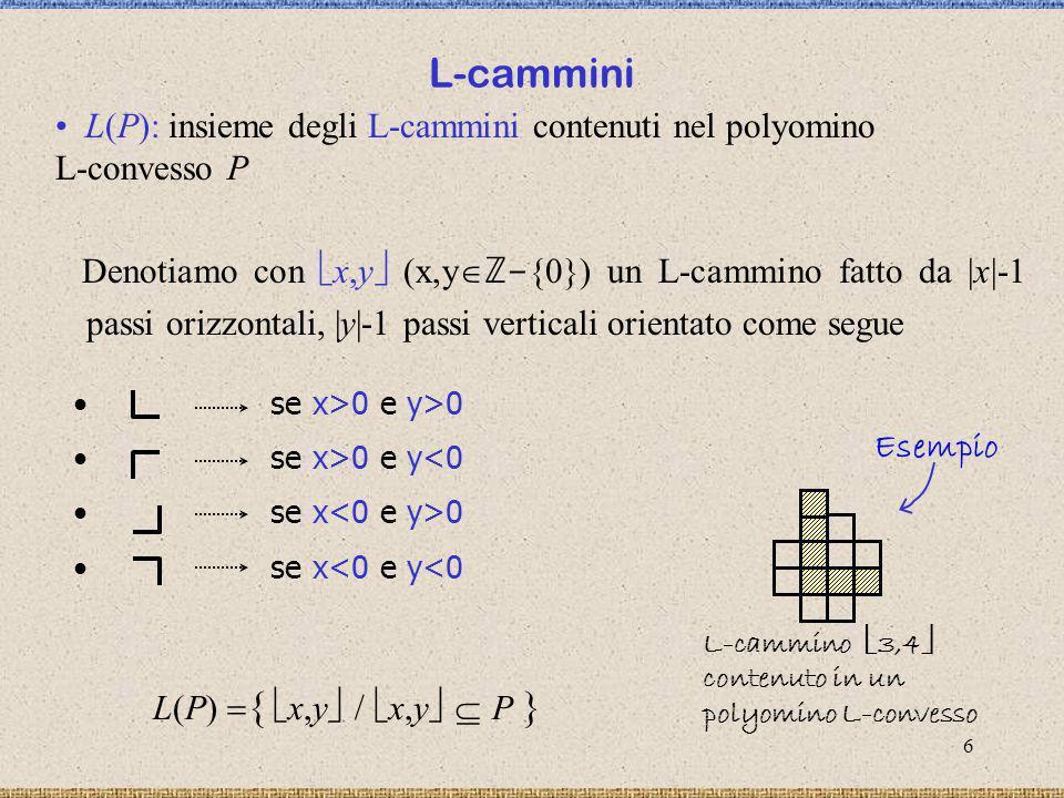 L-cammini L(P): insieme degli L-cammini contenuti nel polyomino L-convesso P.