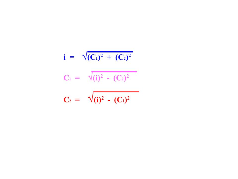 i = (C1)2 + (C2)2 C1 = (i)2 - (C2)2 C2 = (i)2 - (C1)2