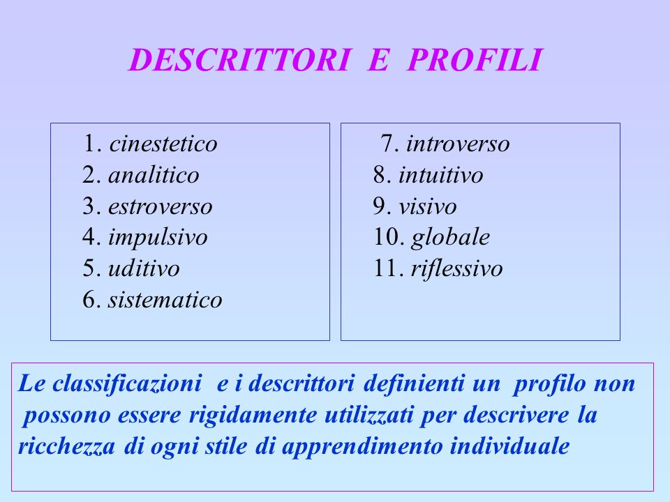 DESCRITTORI E PROFILI 1. cinestetico 2. analitico 3. estroverso 4. impulsivo 5. uditivo 6. sistematico.
