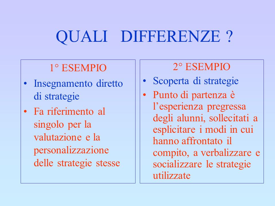 QUALI DIFFERENZE 1° ESEMPIO Insegnamento diretto di strategie