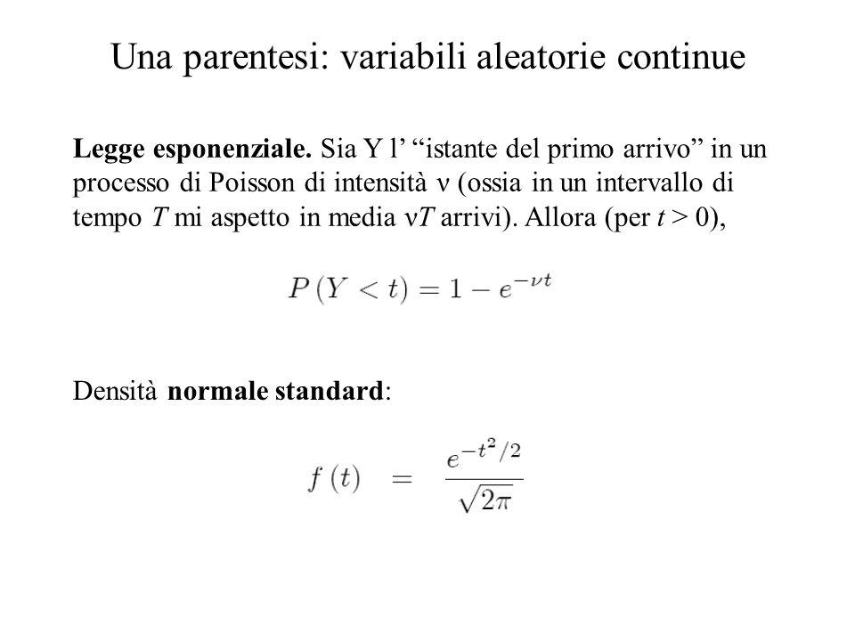 Una parentesi: variabili aleatorie continue