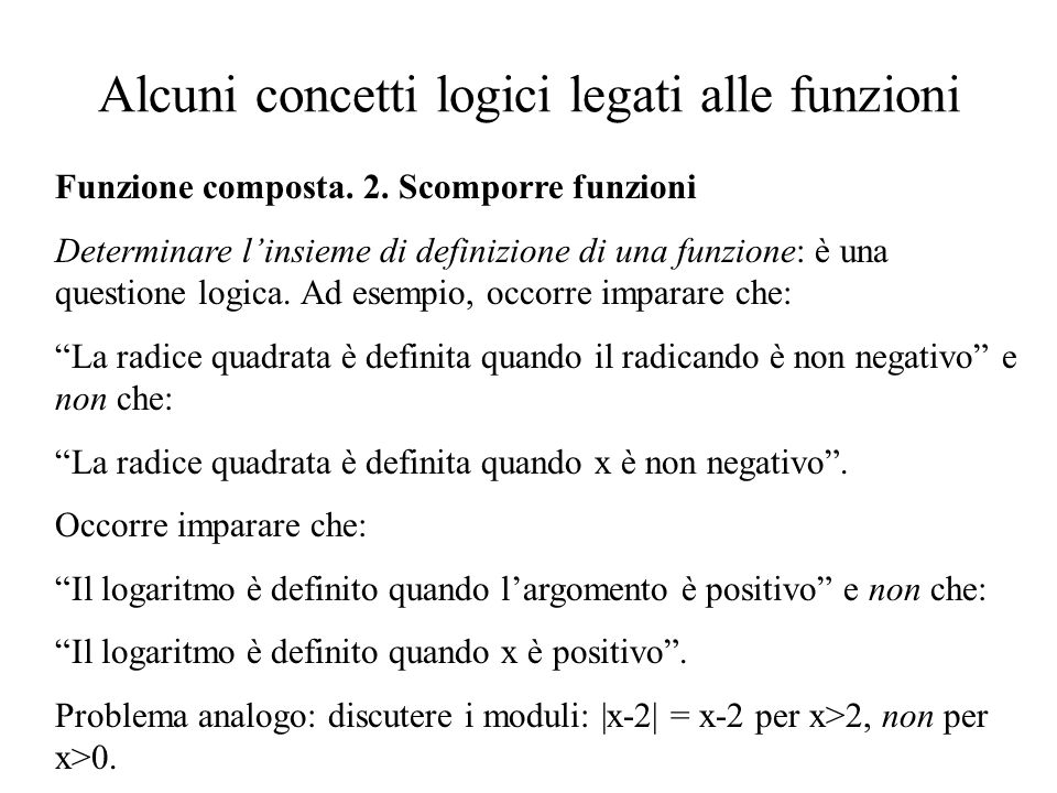 Alcuni concetti logici legati alle funzioni