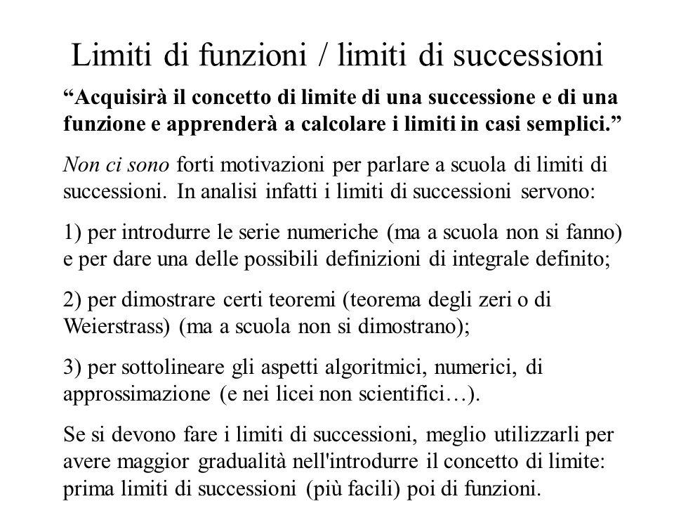 Limiti di funzioni / limiti di successioni