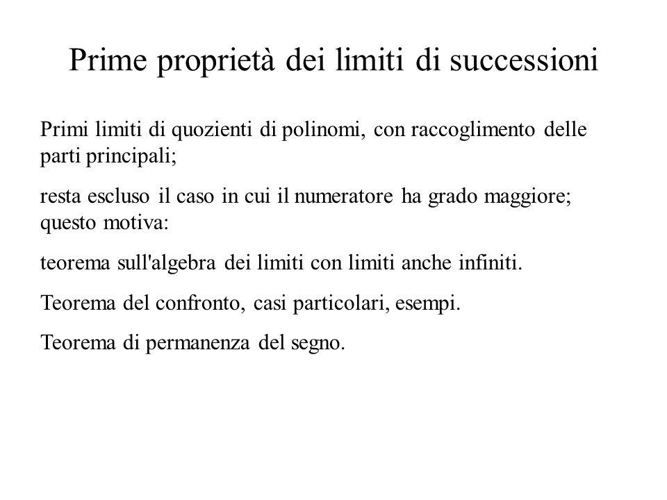 Prime proprietà dei limiti di successioni
