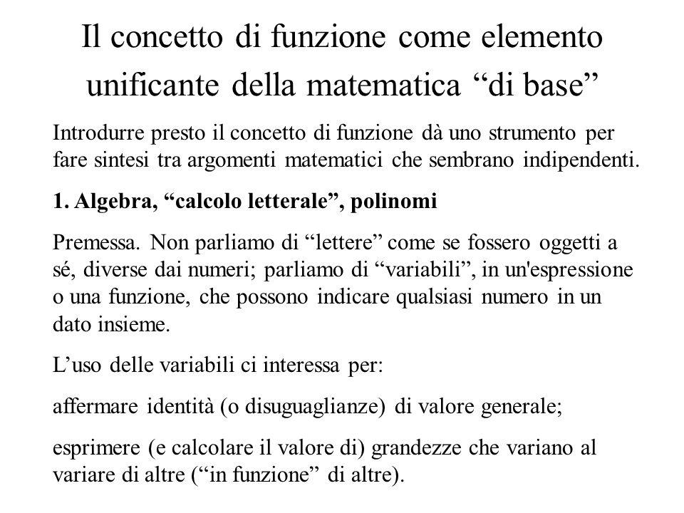 Il concetto di funzione come elemento unificante della matematica di base