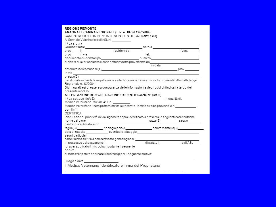 Il Medico Veterinario identificatore Firma del Proprietario