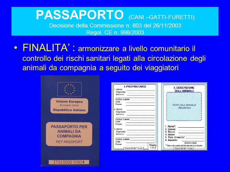 PASSAPORTO (CANI –GATTI-FURETTI) Decisione della Commissione n