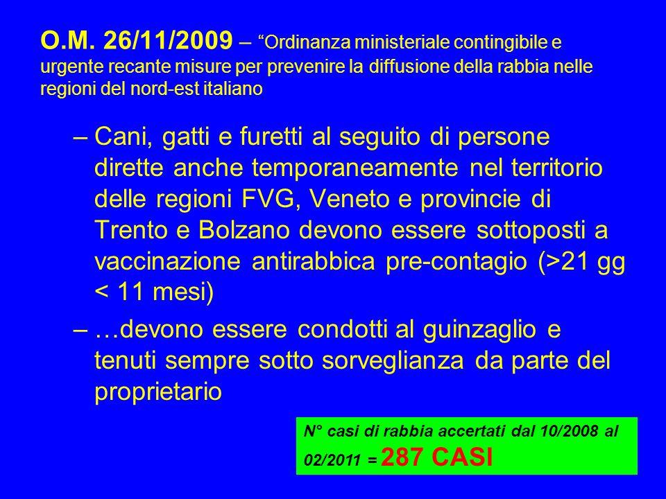 O.M. 26/11/2009 – Ordinanza ministeriale contingibile e urgente recante misure per prevenire la diffusione della rabbia nelle regioni del nord-est italiano