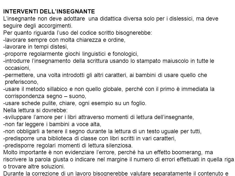 INTERVENTI DELL'INSEGNANTE