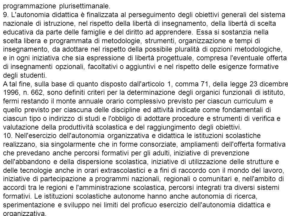 programmazione plurisettimanale. 9