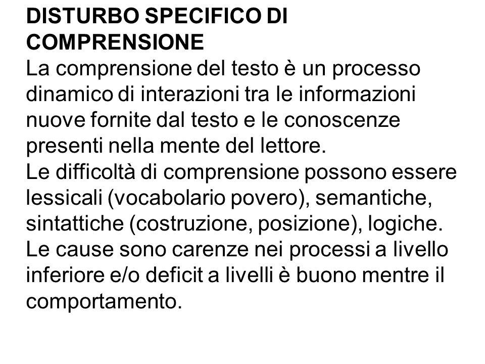 DISTURBO SPECIFICO DI COMPRENSIONE