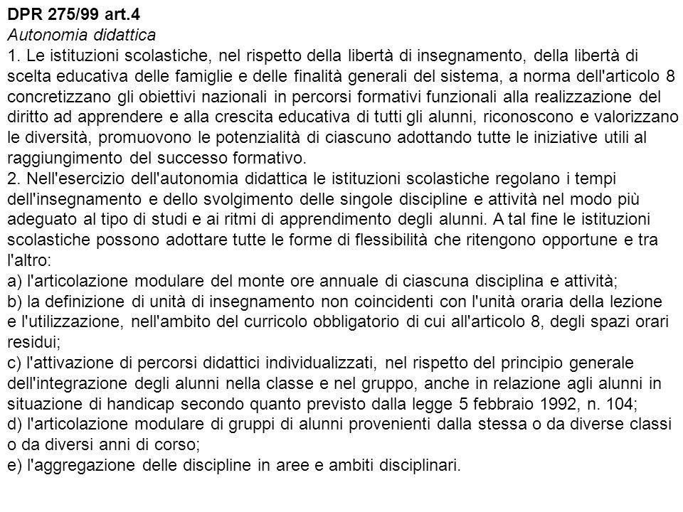 DPR 275/99 art. 4 Autonomia didattica 1
