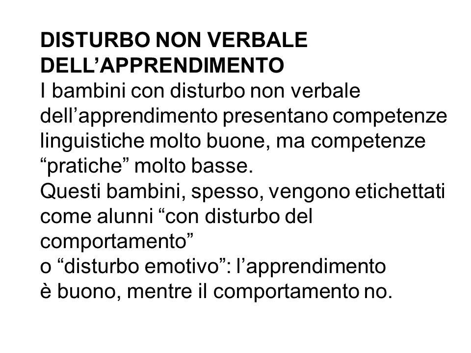 DISTURBO NON VERBALE DELL'APPRENDIMENTO