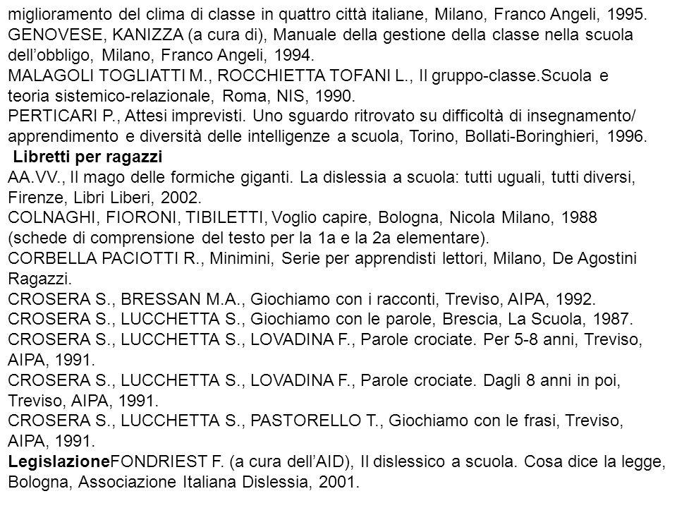 miglioramento del clima di classe in quattro città italiane, Milano, Franco Angeli, 1995. GENOVESE, KANIZZA (a cura di), Manuale della gestione della classe nella scuola
