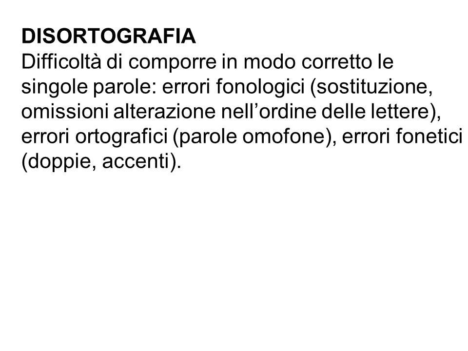 DISORTOGRAFIA Difficoltà di comporre in modo corretto le. singole parole: errori fonologici (sostituzione,