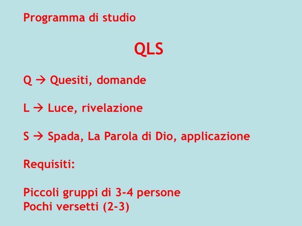 QLS Programma di studio Q  Quesiti, domande L  Luce, rivelazione