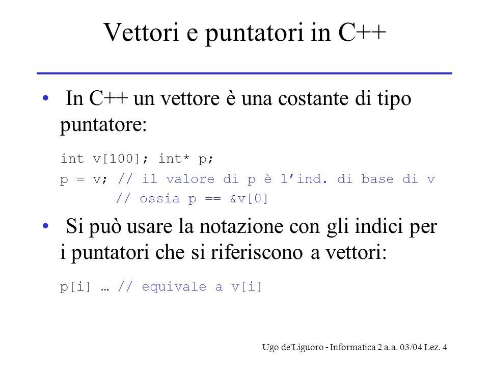 Vettori e puntatori in C++