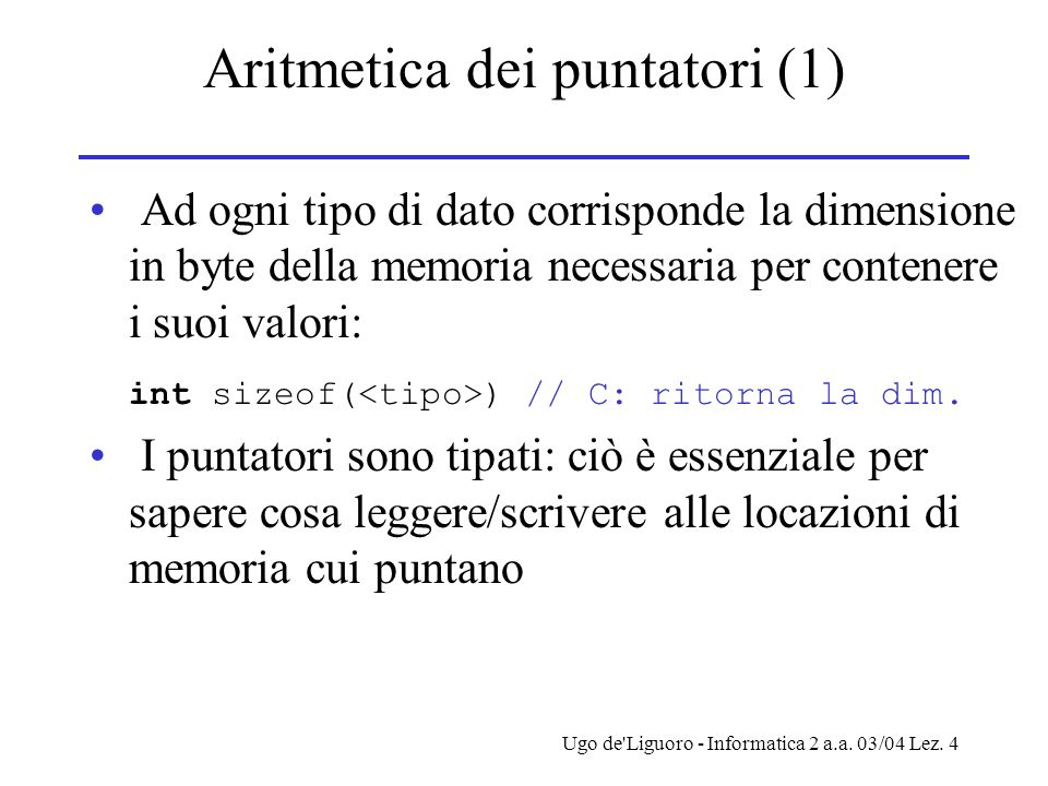 Aritmetica dei puntatori (1)