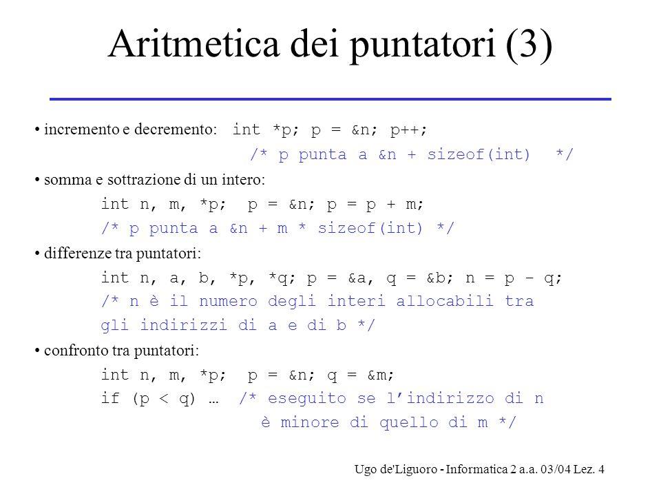 Aritmetica dei puntatori (3)