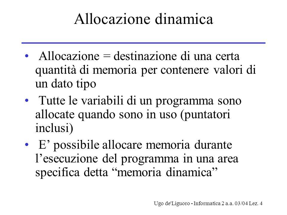 Allocazione dinamica Allocazione = destinazione di una certa quantità di memoria per contenere valori di un dato tipo.