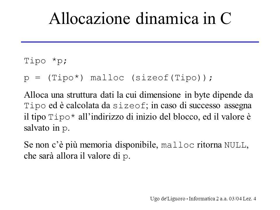 Allocazione dinamica in C