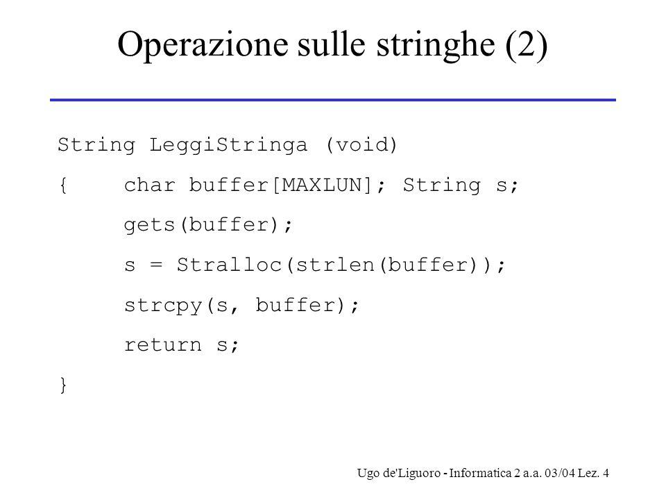 Operazione sulle stringhe (2)