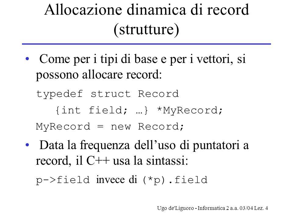 Allocazione dinamica di record (strutture)