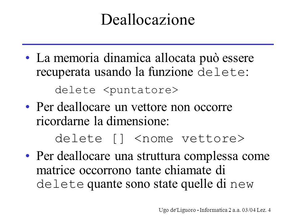 Deallocazione La memoria dinamica allocata può essere recuperata usando la funzione delete: delete <puntatore>
