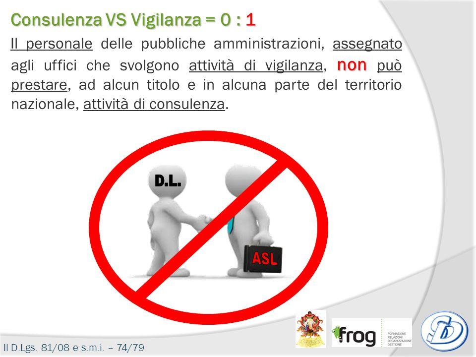 D.L. ASL Consulenza VS Vigilanza = 0 : 1