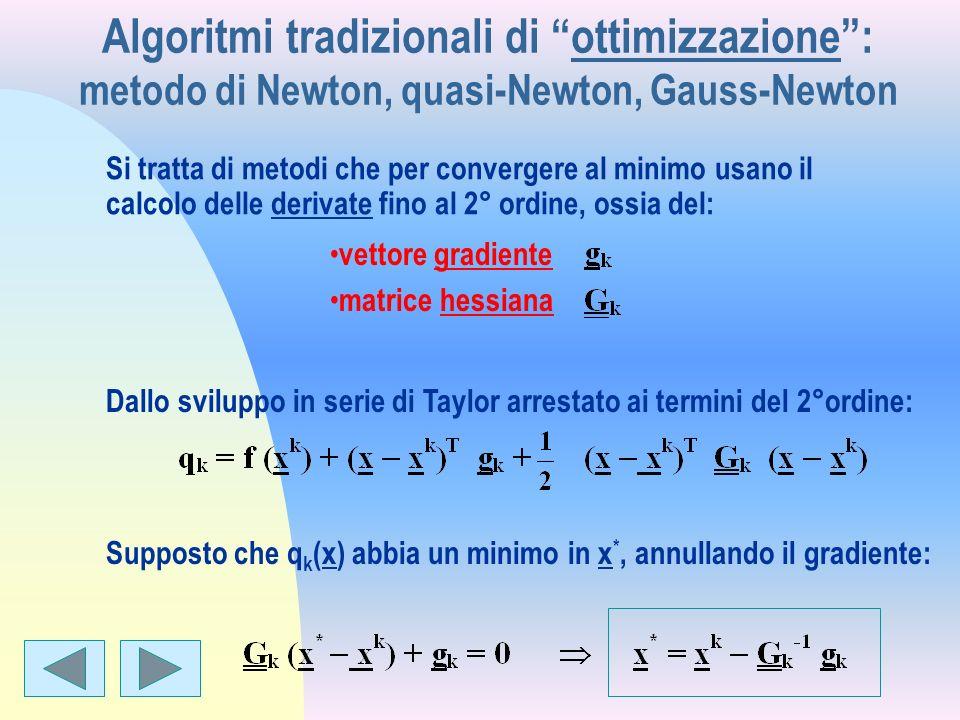 Algoritmi tradizionali di ottimizzazione : metodo di Newton, quasi-Newton, Gauss-Newton