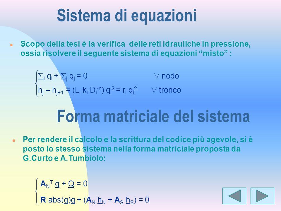 Forma matriciale del sistema