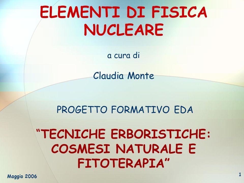 ELEMENTI DI FISICA NUCLEARE a cura di Claudia Monte PROGETTO FORMATIVO EDA TECNICHE ERBORISTICHE: COSMESI NATURALE E FITOTERAPIA