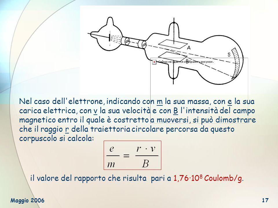 il valore del rapporto che risulta pari a 1,76∙108 Coulomb/g.