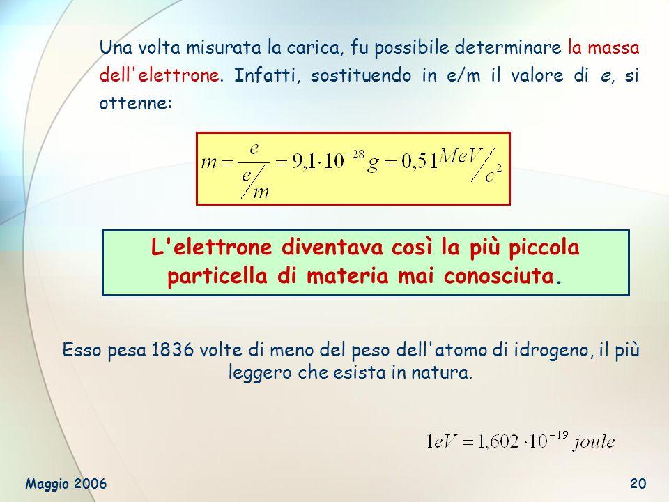 Una volta misurata la carica, fu possibile determinare la massa dell elettrone. Infatti, sostituendo in e/m il valore di e, si ottenne: