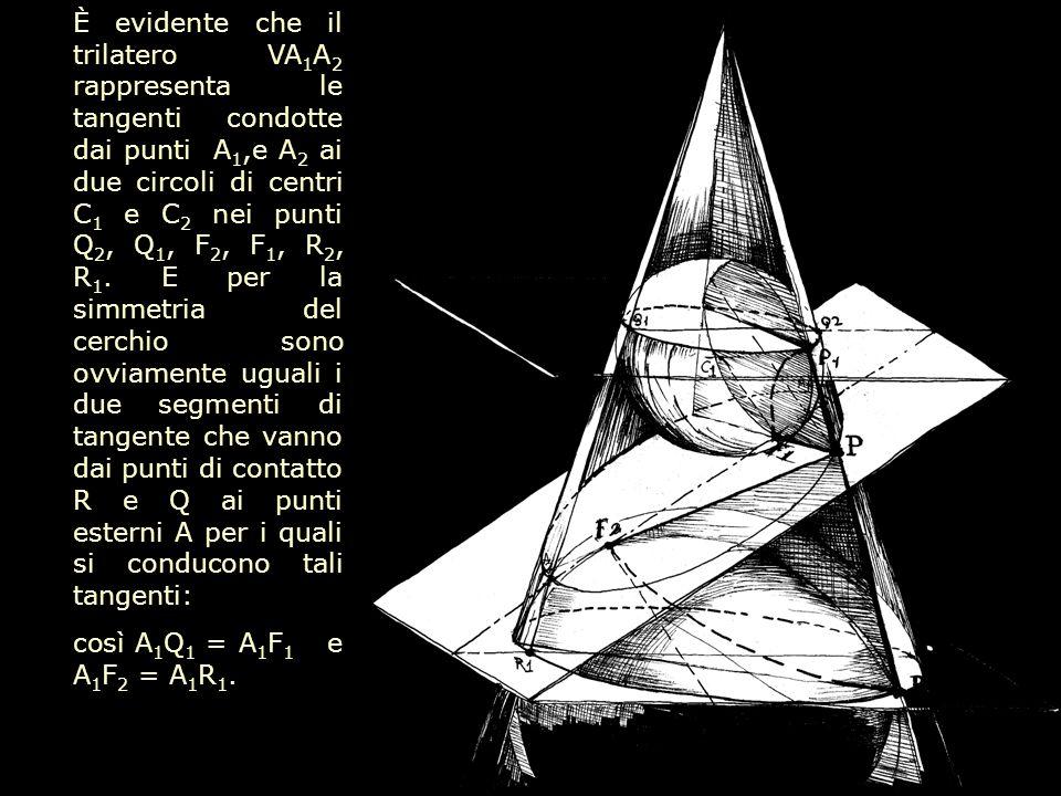È evidente che il trilatero VA1A2 rappresenta le tangenti condotte dai punti A1,e A2 ai due circoli di centri C1 e C2 nei punti Q2, Q1, F2, F1, R2, R1. E per la simmetria del cerchio sono ovviamente uguali i due segmenti di tangente che vanno dai punti di contatto R e Q ai punti esterni A per i quali si conducono tali tangenti: