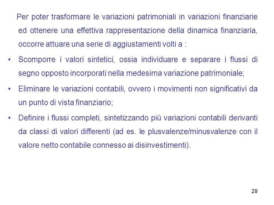 Per poter trasformare le variazioni patrimoniali in variazioni finanziarie ed ottenere una effettiva rappresentazione della dinamica finanziaria, occorre attuare una serie di aggiustamenti volti a :