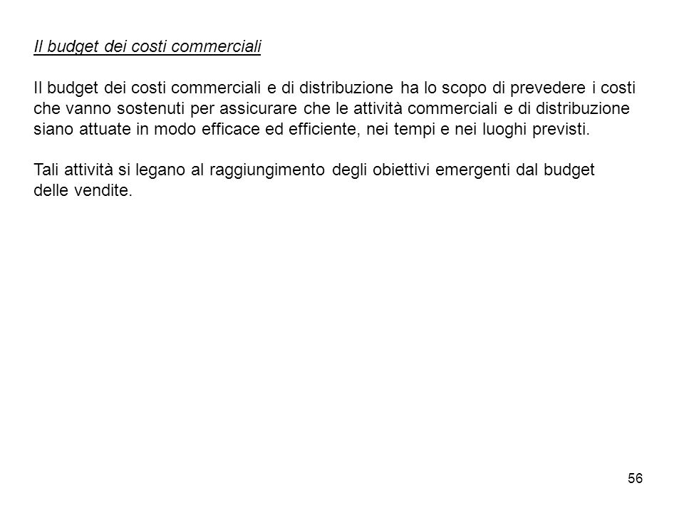 Il budget dei costi commerciali