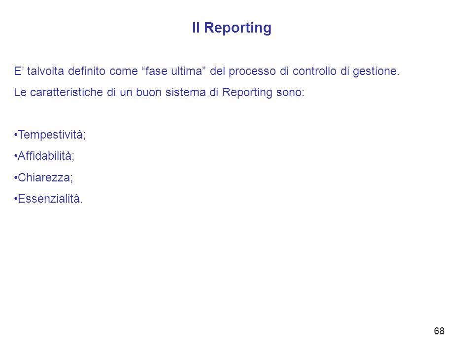 Il Reporting E' talvolta definito come fase ultima del processo di controllo di gestione. Le caratteristiche di un buon sistema di Reporting sono: